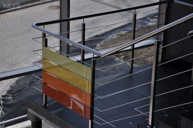 Brugi Bielsko Biała. Balustrada nierdzewna panele aluminiowe malowane.
