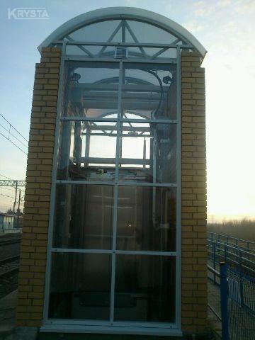 Dworzec Bogumiłowice. Zadaszenia i obudowy windy.